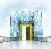 Golden framed doorway under grand entrance gateway building. Illustration Stock Photography