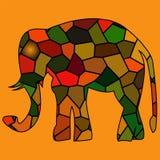 Golden framed elephant in light  rays Stock Photo