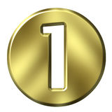 Golden Framed Number 1 Stock Images
