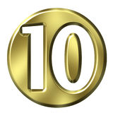 Golden Framed Number 10 Royalty Free Stock Photos