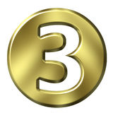 Golden Framed Number 3. 3D Golden Framed Number 3 Stock Photography
