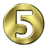 Golden Framed Number 5. 3D Golden Framed Number 5 Stock Images