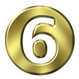 Golden Framed Number 6 Royalty Free Stock Images