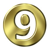 Golden Framed Number 9. 3D Golden Framed Number 9 Royalty Free Stock Photography