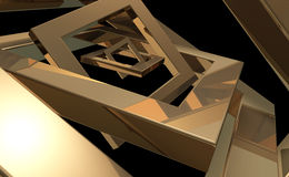 Golden Frames. A golden 3D random frames on a dark background Stock Images