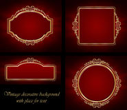 Golden frames and background Stock Photos