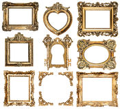 Golden frames. baroque style antique objects Stock Image