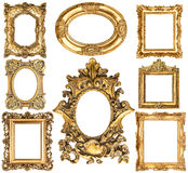 Golden frames. Baroque style antique objects. Vintage collection. Golden frames isolated on white background. Baroque style antique objects. Vintage collection Stock Photo