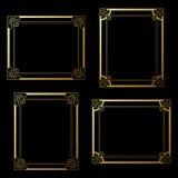 Golden frames on black background. Decoration rectangle frames for your photo. Decorative border. Stock Image