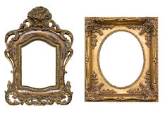 Golden Frames With Clipping Paths. Antique vintage frames isolated on white with  clipping paths Stock Photography