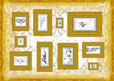 Golden frames with floral ornament Royalty Free Stock Photo