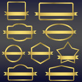 Golden frames with ribbons Stock Images