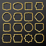 Golden Frames Set with Glitter Texture. Stock Photography