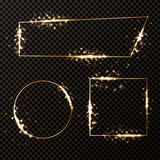 Golden frames set Royalty Free Stock Photos
