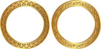 Golden frames. Set of golden round frames Stock Photo