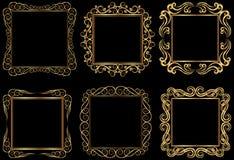 Golden frames. Set of golden square frames Stock Images