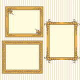Golden frames with vintage ornaments Royalty Free Stock Images