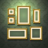 Golden Frames On Wall Stock Photo