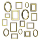 Golden frames. On white background Royalty Free Stock Images