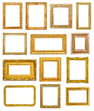 Golden frames. On white background Royalty Free Stock Photography