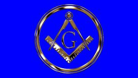 Golden Free Mason Symbol on a Blue Screen Background