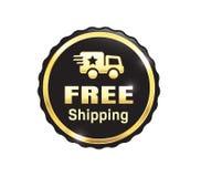Golden Free Shipping Badge stock illustration