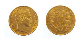 Golden French Coin royalty free stock photography