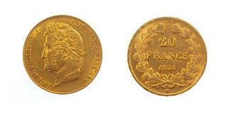 Golden French Coin Royalty Free Stock Photo