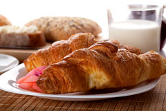 Golden french croissant Stock Images