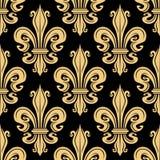 Golden french fleur-de-lis seamless pattern Royalty Free Stock Photos