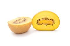 Golden fresh kiwi fruit sections on white background Royalty Free Stock Image