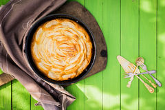 Golden freshly baked apple tart Royalty Free Stock Image