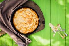 Golden freshly baked apple tart Royalty Free Stock Image