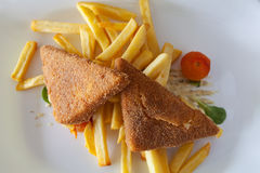 Golden fried cheese with chips Royalty Free Stock Photo