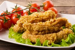 Golden fried chicken strips in breading. With salad and tomatoes on a white plate stock image