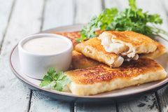 Golden fried fish fingers stock image