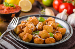 Golden fried mini croquette Royalty Free Stock Images