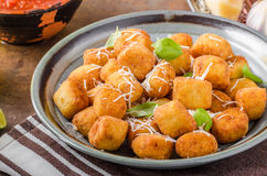Golden fried mini croquette Stock Photos