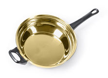 Golden frying pan Royalty Free Stock Photography