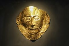 Golden funeral mask of Agamemnon Athens Greece 01 04 2018 royalty free stock image