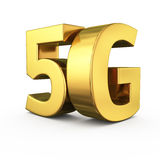 Golden 5G. Big golden letters 5G on white Stock Photo