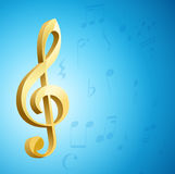 Golden g clef musical key and notes over blue background Stock Photography