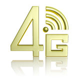 Golden 4G symbol on white with reflection. Mobile high speed data connection telecommunication concept: golden abstract 4G LTE wireless communication technology stock illustration