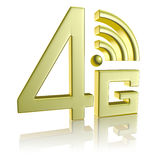 Golden 4G symbol on white with reflection. Mobile high speed data connection telecommunication concept: golden abstract 4G LTE wireless communication technology royalty free illustration