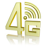 Golden 4G symbol on white with reflection. Mobile high speed data connection telecommunication concept: golden abstract 4G LTE wireless communication technology vector illustration