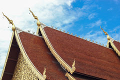 Golden gable apex on jediluang temple roof Stock Images