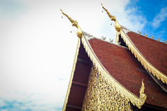 Golden gable apex on jediluang temple roof Stock Photography