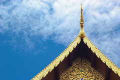 Golden gable apex and striped thailand on chapel Stock Image