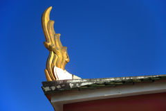 Golden gable apex. On top of Thailand Temple Royalty Free Stock Image