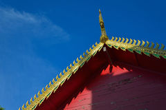 Golden gable on the roof temple architecture of northern thailand Royalty Free Stock Photo